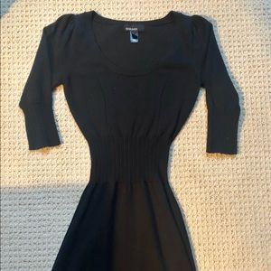 EUC Mango Basics lightweight black sweater dress.